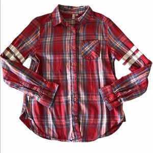 SO Button-Front Red Plaid Top